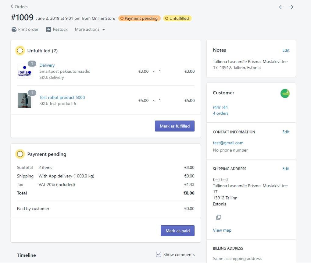 Shopify Itella Smartpost admin