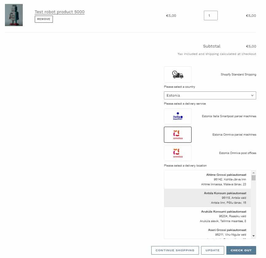 Shopify Omniva pakiautomaadid