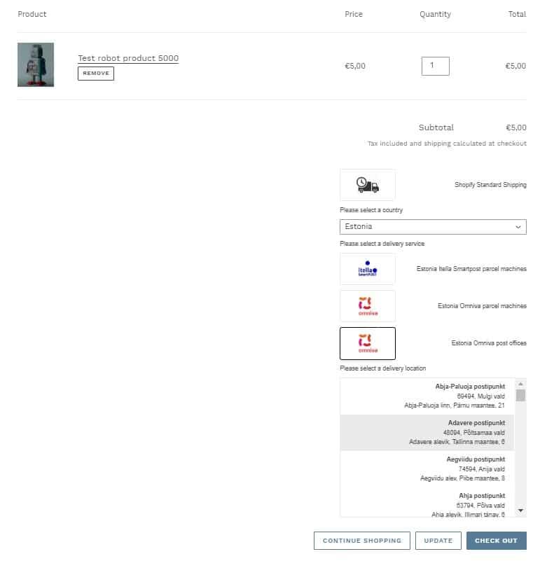 Shopify Omniva postkontorid